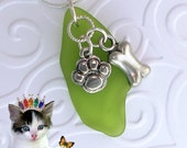 Lime Green Sea Glass Necklace Dog Bone and Paw charm for the Pet Lovers