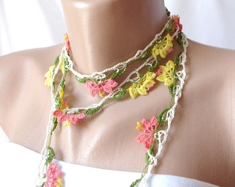 My Summer DREAM- Pink, yellow and green Lace flower Necklace, Lariat, Bracelet - Turkish lace Work