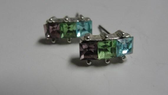 Aqua Green Pink Rhinestone Post Pierced earrings