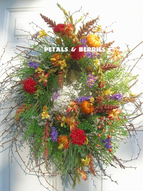 Country Fall Primitive flowers, Colorful Door wreath Arrangement