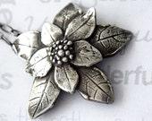 Poinsettia Sterling Silver Pendant, Keepsake Silver Poinsettia Ornament, Collectible Christmas Poinsettia