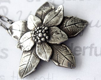Poinsettia Sterling Silver Pendant