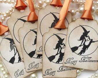 Halloween Tags - Witch Broomstick Favor Tags - Vintage Inspired Set of 6 - Pumpkin Orange Ribbon