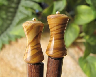 Picture Jasper and Rosewood Hair Sticks - 6""