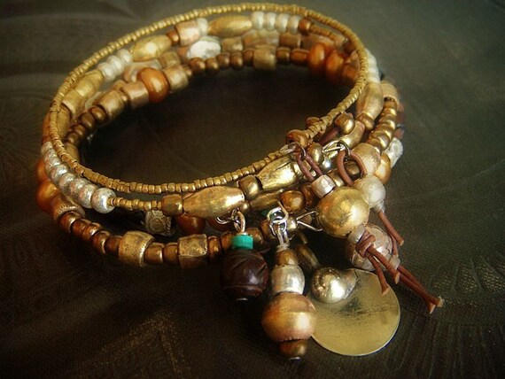 RESERVED-African Brass, African Glass and Bolo Leather Beaded Charm Bangle Set