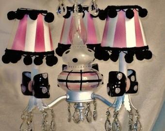 Pink and Black Chandelier - Girls Room Chandelier -   Pendant Lighting
