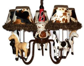 Western Horse Chandelier -  Cowboy Room Lighting