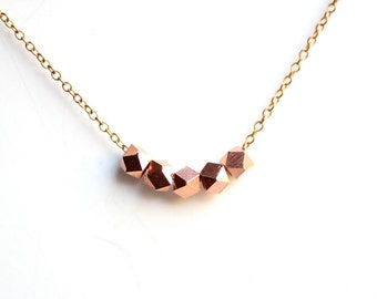Minimalist Copper Faceted Bead Necklace on Copper Chain