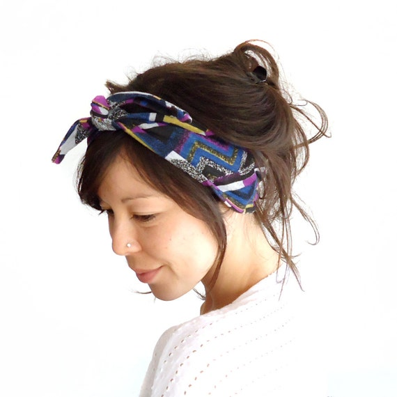 LAST ONE Tie Up Headscarf Abstract Chevron Triangles