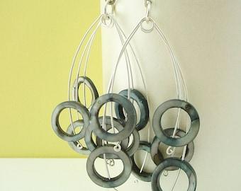 Black Abalone Circles Silver Fireworks Earrings