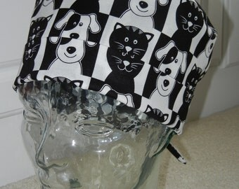 Tie Back Surgical Scrub Hat with Cats and Dogs