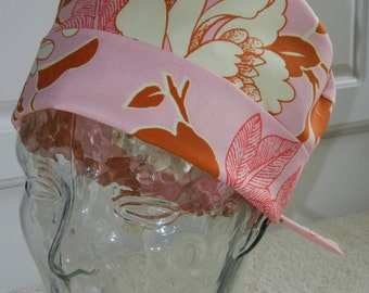 Tie Back Surgical Scrub Hat in Pink Peony