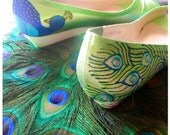 Wedding Shoes lime green peacock feather wedge custom painting