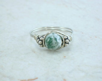 Sterling Silver Tree Agate and Bali Bead Ring