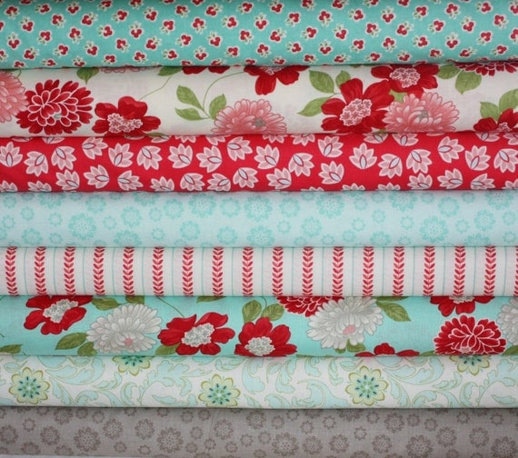 Vintage Modern by Bonnie and Camille and Verona fabric for Moda and Riley Blake- Fat Quarter Bundle-8 Total