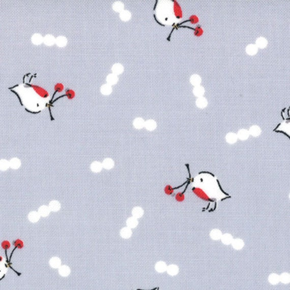 SALE Cherry Christmas quilt or craft Fabric by Aneela Hoey for Moda Fabrics, Robin in Grey-1 Yard or by the yard