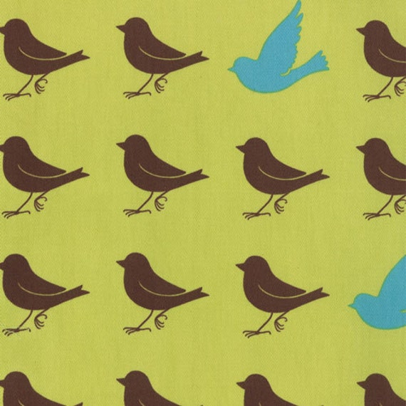 Oh Deer Japanese fabric  by Momo for Moda, Bird Silhouette Sparrow in Leaf-Fat Quarter