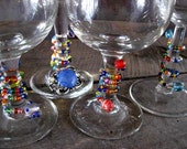 glass beaded wine charms with vintage repurposed jewelry pizzazzers