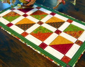 Fabulous Fall quilted table runner in autumn colors