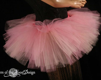 Adult tutu skirt Mini micro Peek a boo style dance roller derby costume peach pink runner -- You Choose Size- halloween dance fae