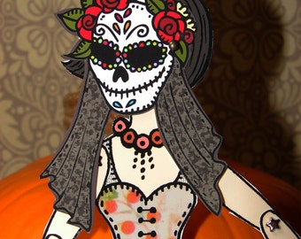 Original Fully Assembled Articutlated Audrey the Brunnette and her dia-de-los-muertos mask Paper Doll set