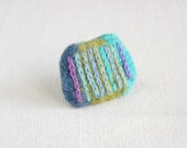 fiber art brooch - textile  pin -   textile jewelry striped turquoise  blue green aqua