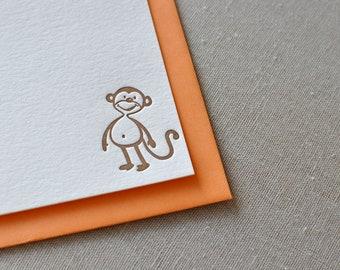 Letterpress monkey cards, set of six, flat cards and envelopes