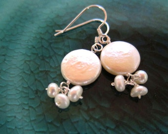 White Mother of Pearl Dangle Sterling Silver Earrings
