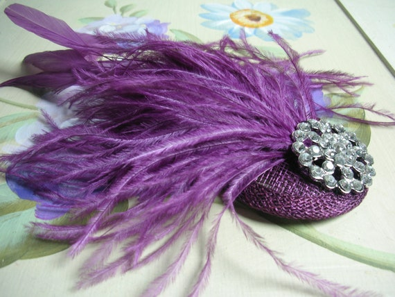 New handmade 1920s inspired mauve purple feather fascinator