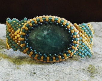 Peace & Tranquility - Free Form Peyote Stitch Beaded Bracelet Beaded Cabochon - DISCOUNTED