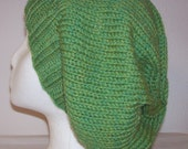 "Wool Slouch Hat - Slouchy Knit Beanie - Knitted Dreadlock Beanie - ""Kiwi"" Green"