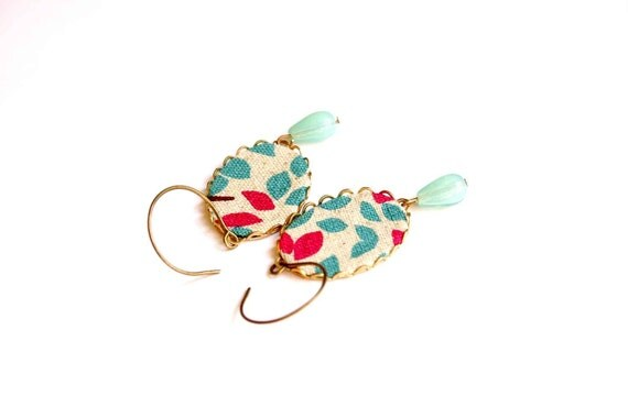 Dangling Earrings in Red, Turquoise and White - Pop