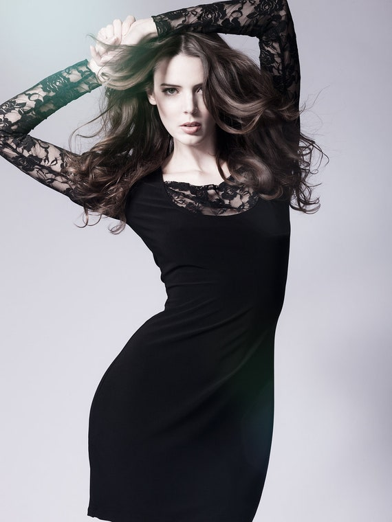 Black Cocktail Dress with lace sleeves-Small (Sample Sale)