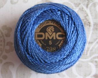 DMC 798 Dark Delft Blue Perle Cotton Thread Ball Size 5