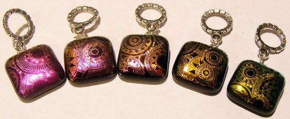HANDMADE Dichroic Glass Set 5 Stitch Markers - INDUSTRY