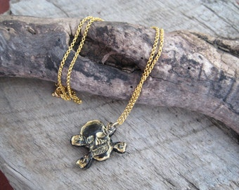 Gold Leather Skull Chain Necklace Gift