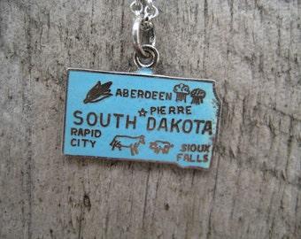 Vintage South Dakota State Travel Charm for Bracelet Pendant Necklace Sterling Silver blue