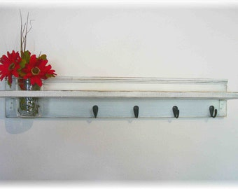 """Wood Fench Country Wall Shelf  30"""" Wide Hooks Faded Linen Wedding White  Color Beach Cottage"""