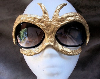 Recycled  Junk Mail Gold Futuristic- Can be worn with glasses
