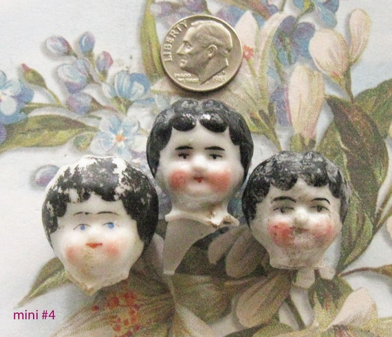 German Doll Heads PAINTED MINI Antique Frozen Charlotte Doll Body Head Part Assemblage Diy Jewelry