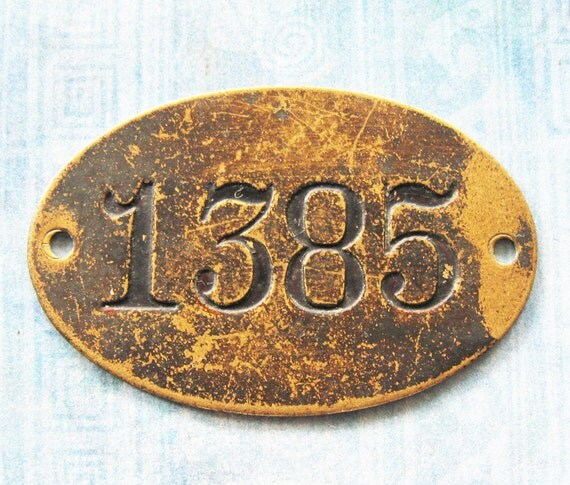 Oval Brass Number Tag Postal Box 1385 Tag Rustic Primitive Antique Victorian Ephemera PO Box ID DIY Pendant Steampunk