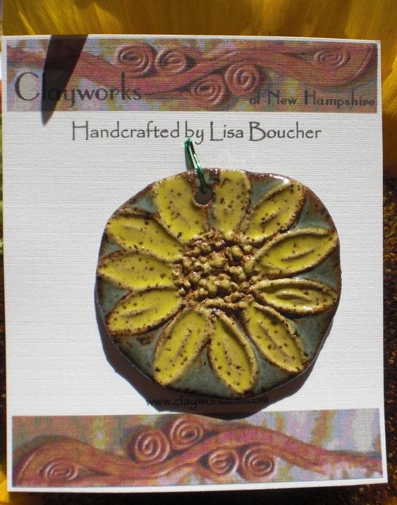 COMPONENT CLEARANCE 40% OFF - Metallic Green Stoneware Sunflower Pendant