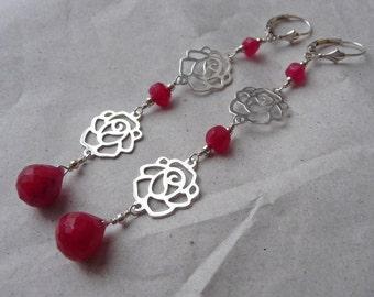 Ruby and Rose Trellis Earrings, Chandelier, Statement, Long, Gemstones, Sterling Silver, pink, Leverbacks, briolettes