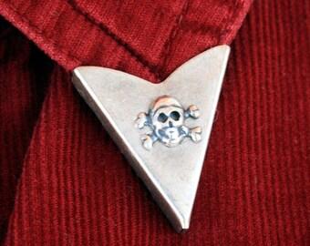 Collar Tips - Skull and Crossbones