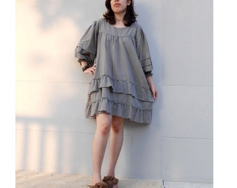Custom Made Gray Cotton Loose Ruffle Short  Boho Tunic Dress  (H)