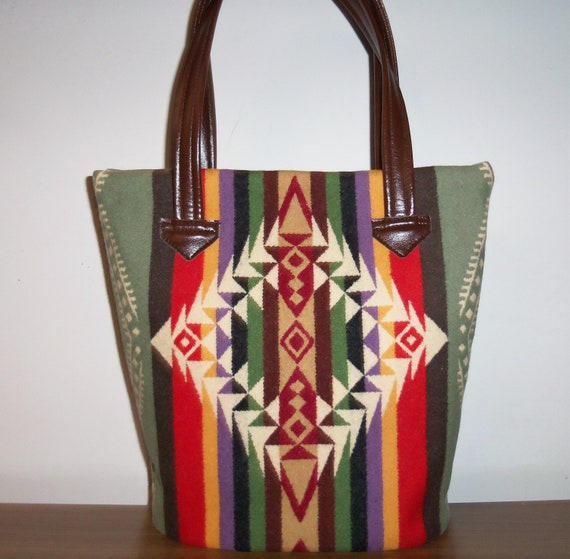 Pendleton Wool Tote Bucket Bag Purse Carry On 4 pockets