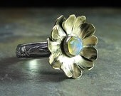 Opal ring sterling silver with brass flower - Enchanted Garden
