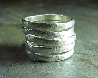Stacking Rings Textured  Rustic  - Summerlight