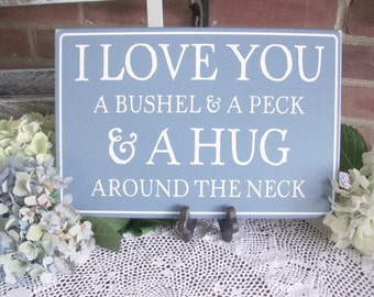 I Love You Wood Sign Painted Nursery or Wedding Plaque