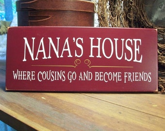 Nana's House Sign Grandmother Plaque Mother's Day Gift Family Cousins become Friends Handcrafted